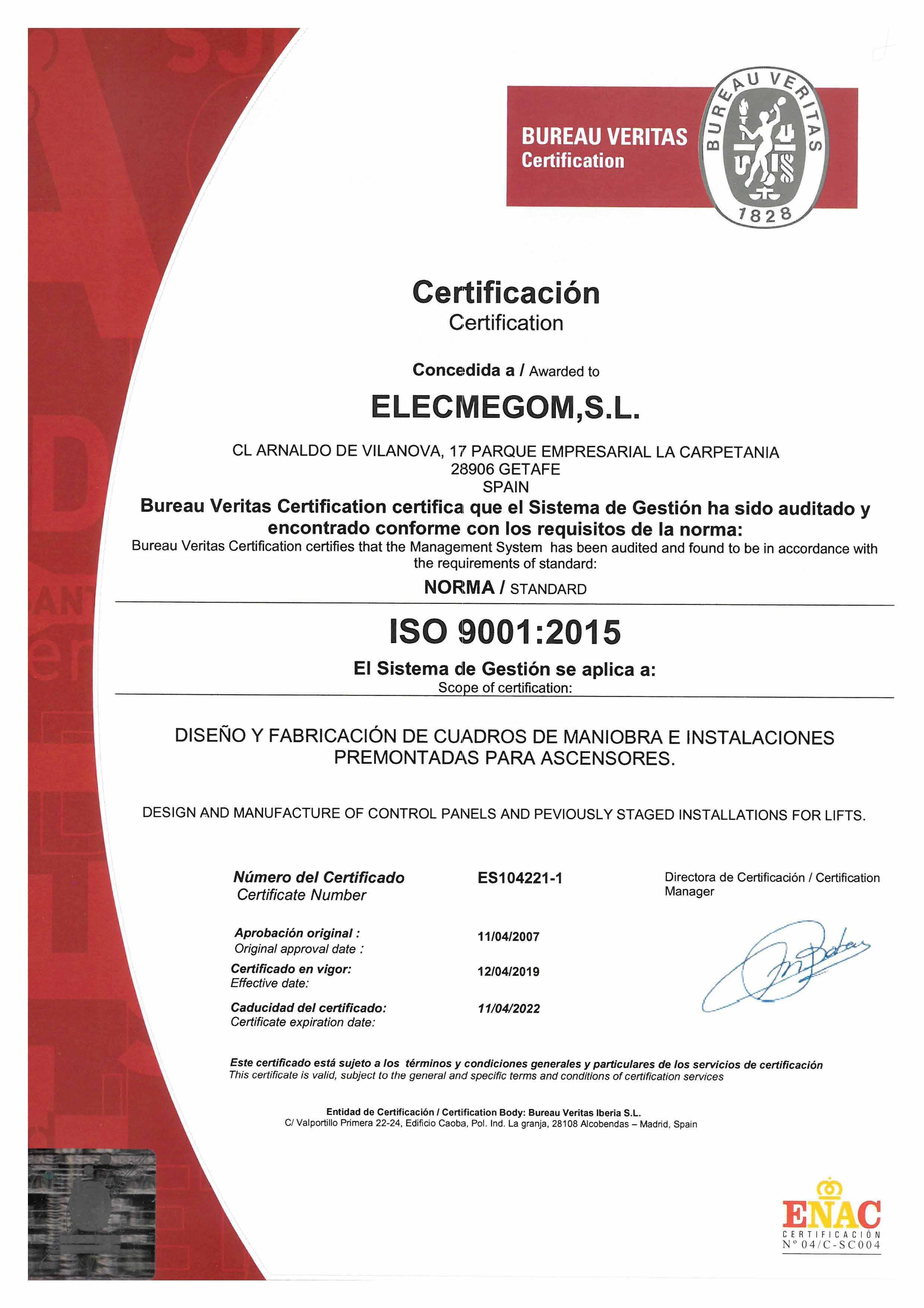 Certificado ISO 9001 2022